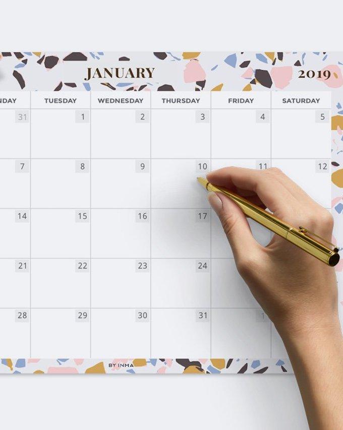 calendrier 2019 original terrazo graphique or janvier blog déco clem around the corner