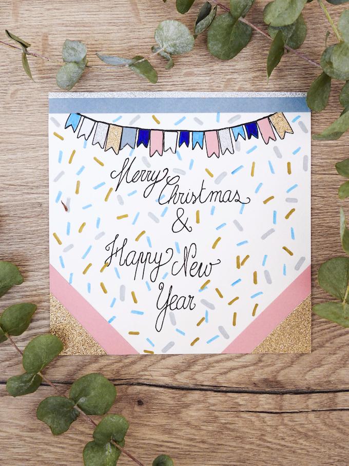 carte de voeux fin d'année festive fanions blog déco clem around the corner