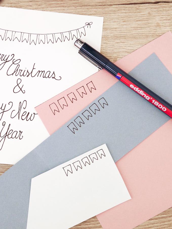 carte de voeux fin d'année festive papier scotch paillettes feutres fanions blog déco clem around the corner