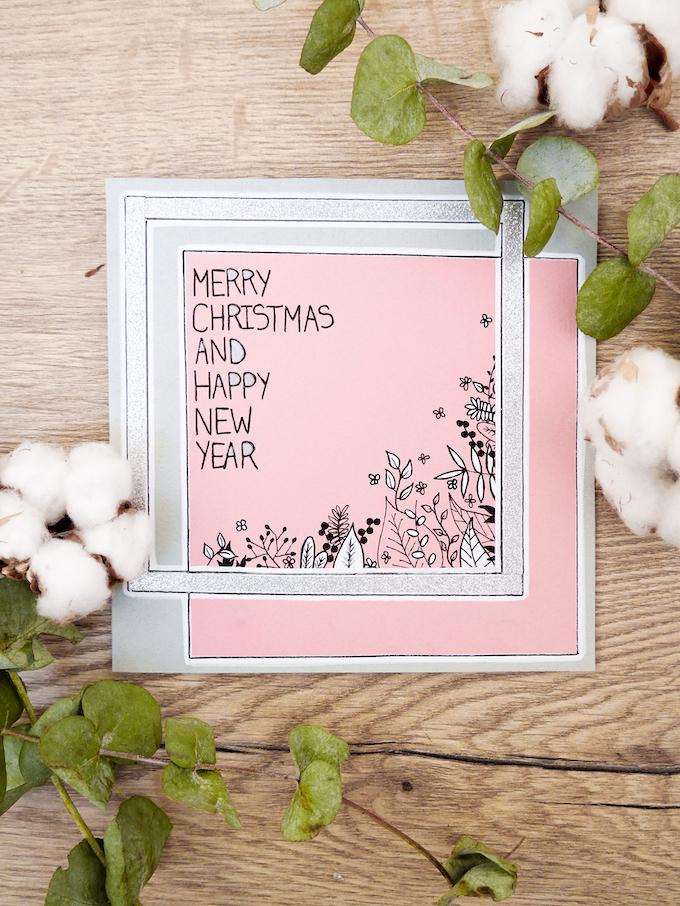 carte de voeux fin d'année fleurs design rose blog déco clem around the corner