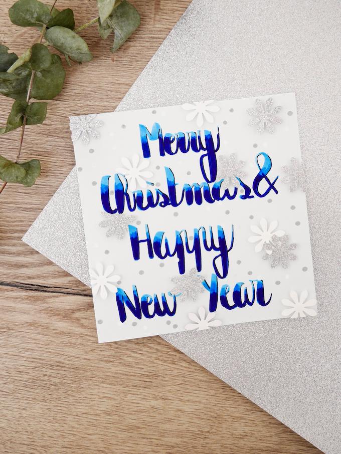 carte de voeux fin d'année neige bleu eucalyptus fleurs feutres flocons blog déco clem around the corner