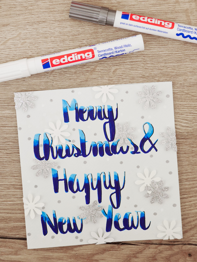 carte de voeux fin d'année neige bleu feutres flocons blog déco clem around the corner