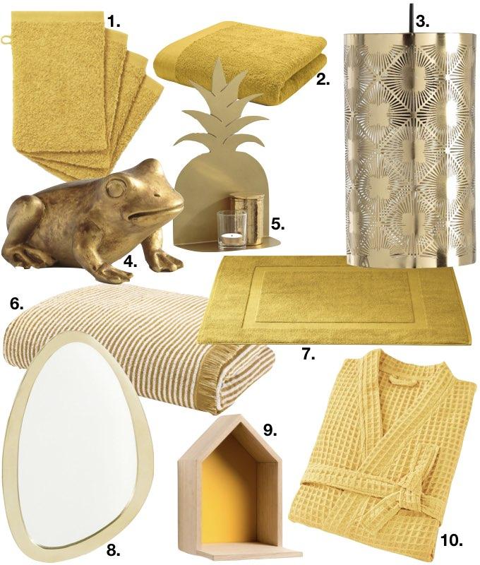 déco couleur jaune moutarde salle de bain blog déco clem around the corner