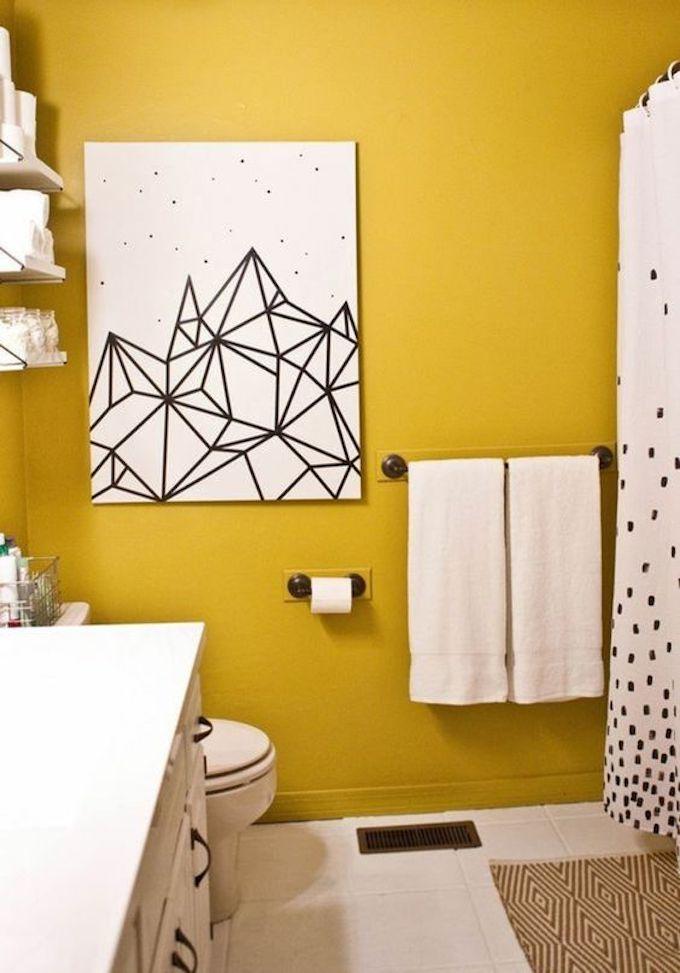 déco couleur jaune moutarde scandinave géométrique noir blanc salle de bain blog déco clem around the corner