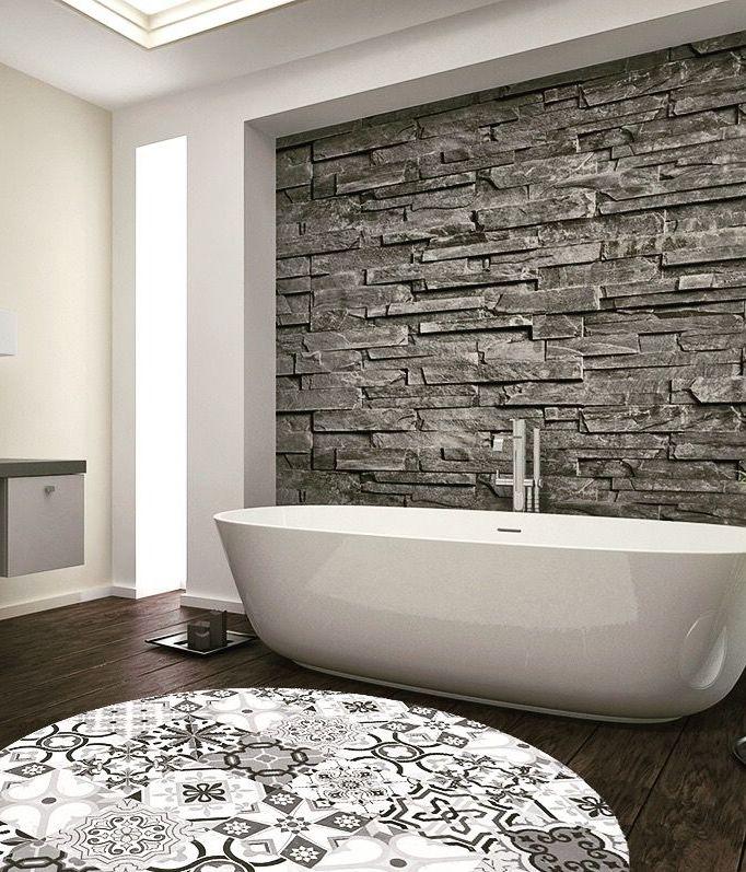 tapis rond salle de bain vinyle - blog déco - clem around the corner