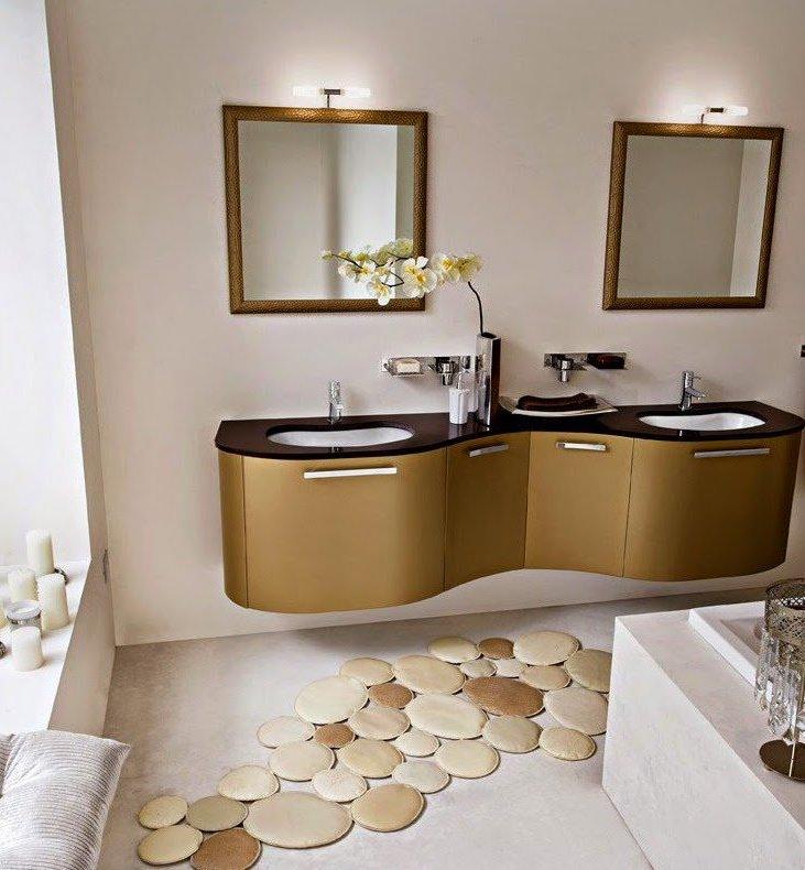 tapis rond salle de bain petit beige - blog déco - clem around the corner