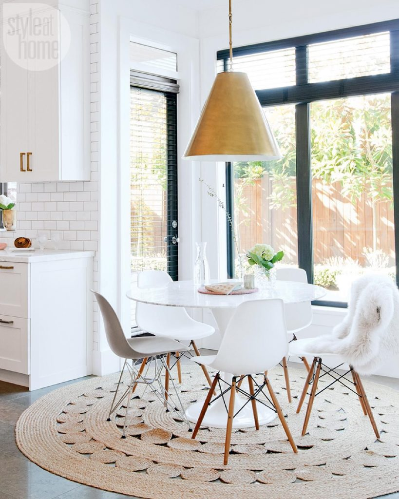 tapis rond style scandinave salle manger - blog déco - clem around the corner