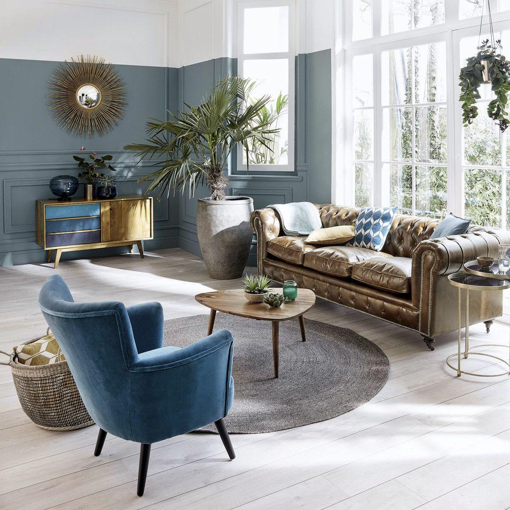 tapis rond chic sobre bleu - blog déco - clem around the corner