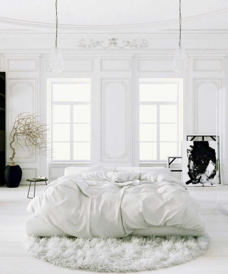 tapis rond chambre blanche fourrure lumineux - blog déco - clem around the corner