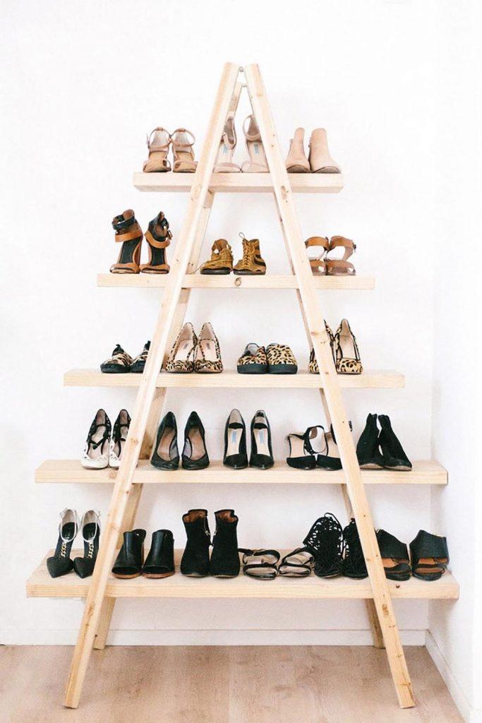 astuces pour ranger les chaussures échelle étagère blog déco clem around the corner