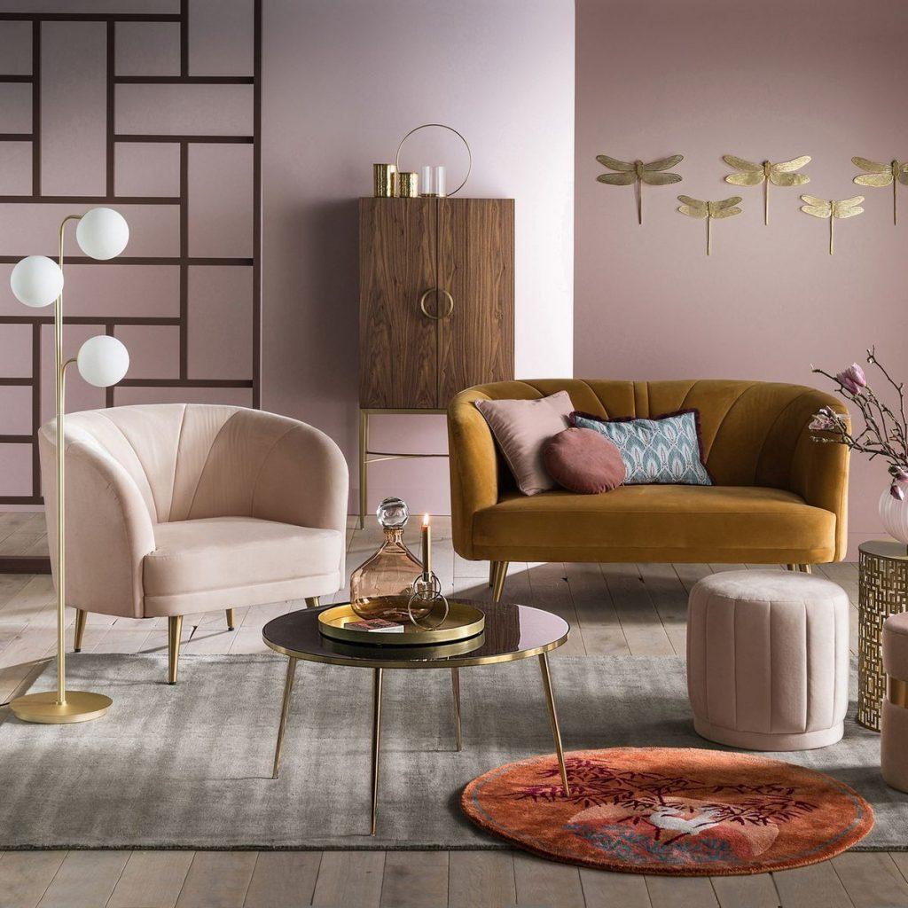 canapé coquillage shell sofa art déco salon velours - blog décoration intérieure - clem around the corner
