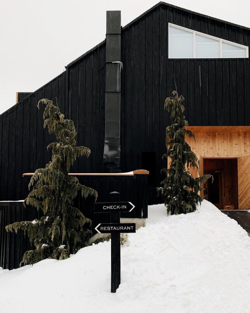 chalet noir façade bois neige sapins - blog déco - clem around the corner