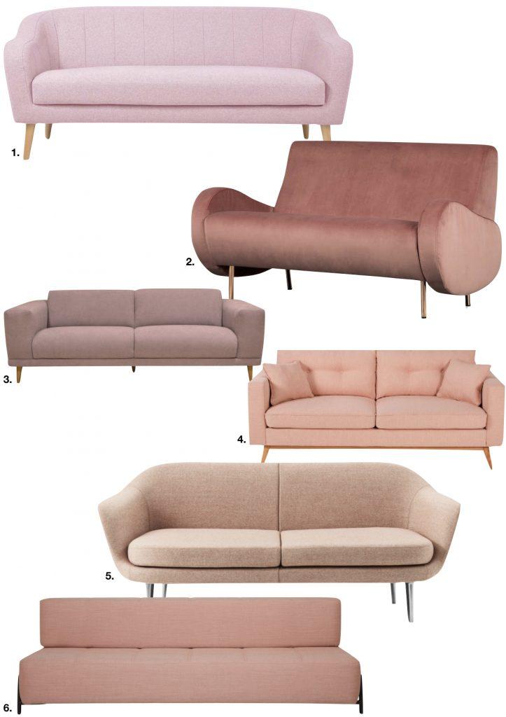 millennial pink canapés tissus salon - blog déco - clem around the corner