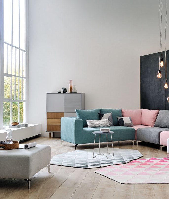 millennial pink canapés grand salon - blog déco - clem around the corner