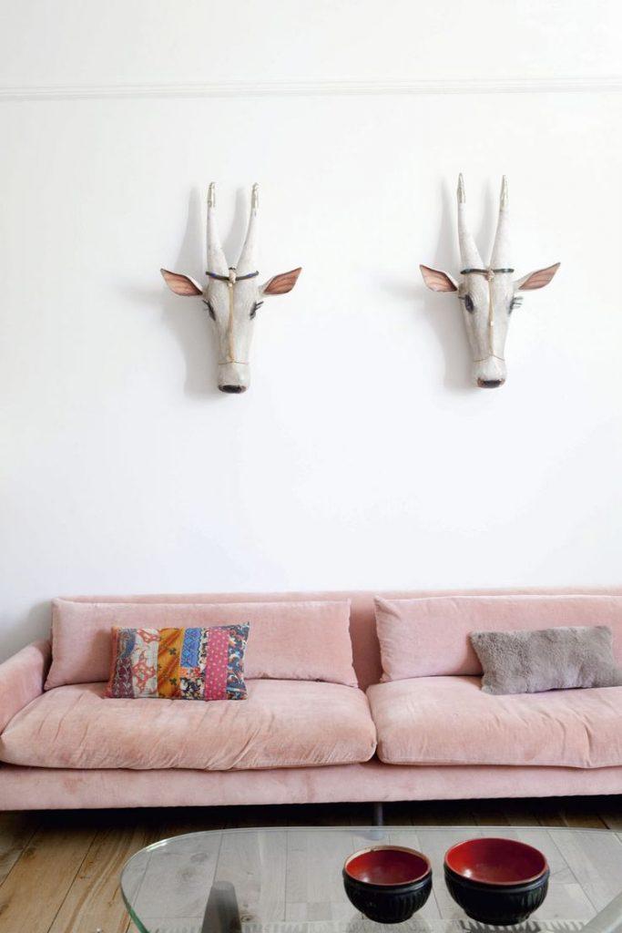 millennial pink canapé style bohème table basse verre - blog déco - clem around the corner
