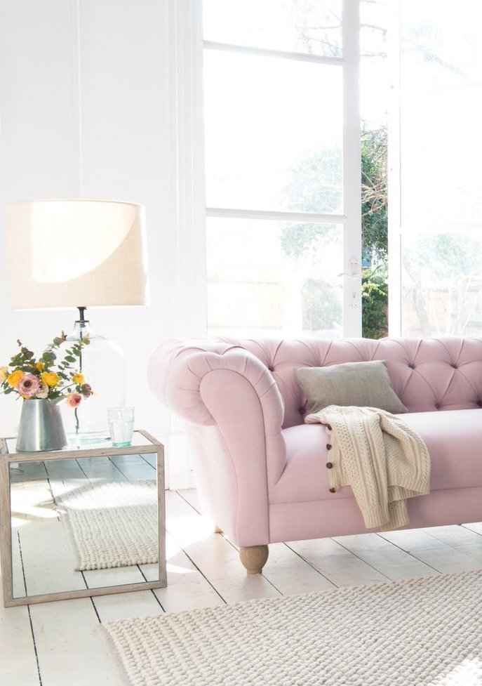 millennial pink canapé matelassé côtelé - blog déco - clem around the corner