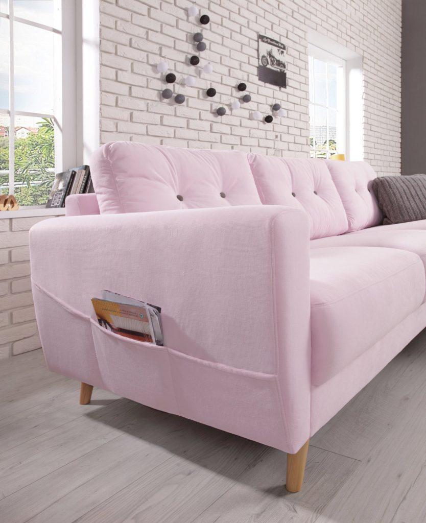millennial pink canapé coffret bouton bois salon - blog déco - clem around the corner