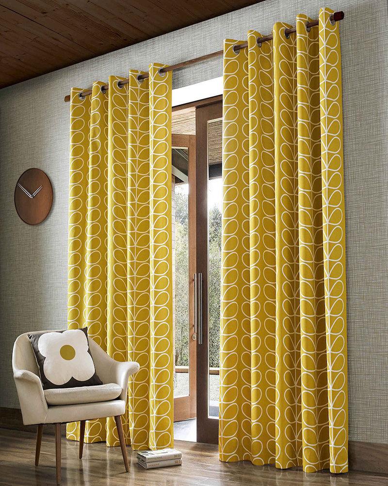 style rétro salon rideaux feuilles oranges - blog déco - clem around the corner