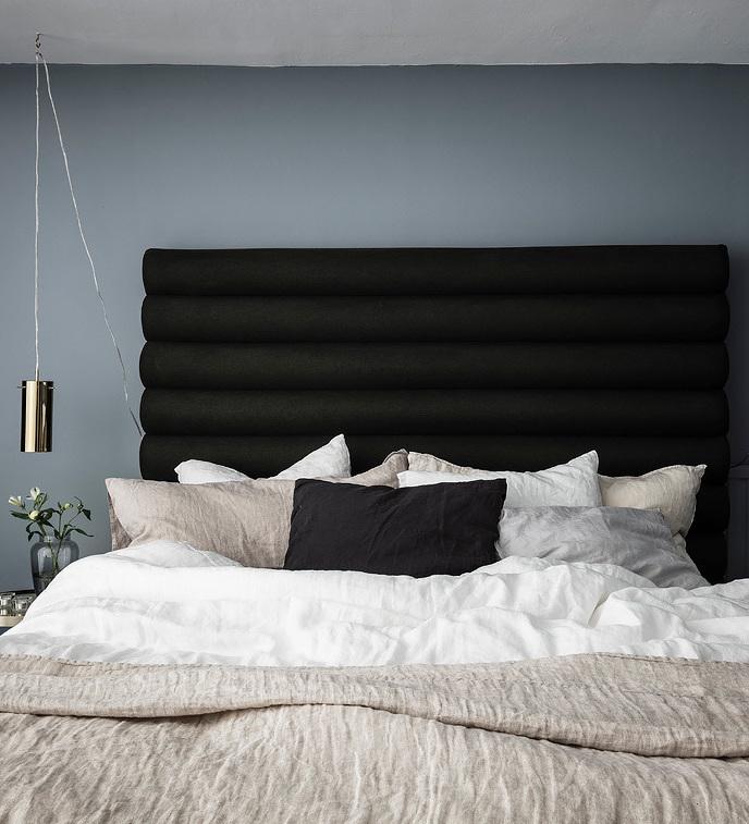 loft suédois chambre lit double tête de lit coussin - blog déco - clem around the corner