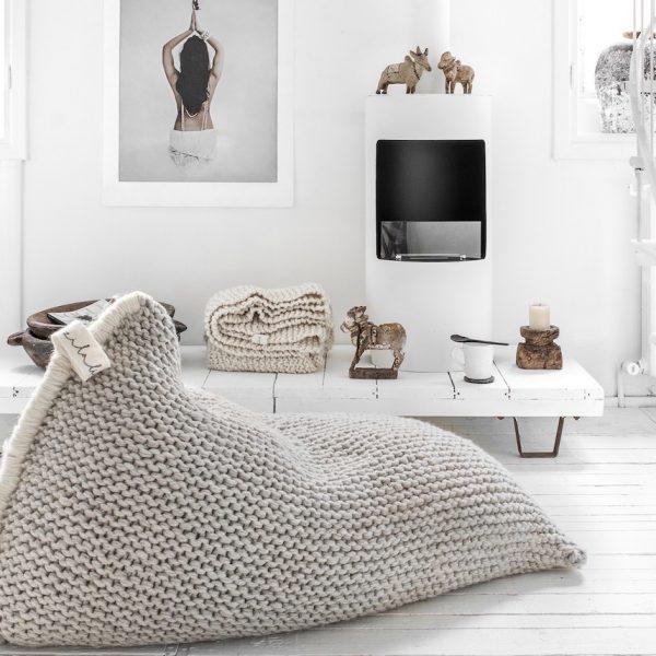 coussin de sol tricot poire géant - blog déco - clem around the corner