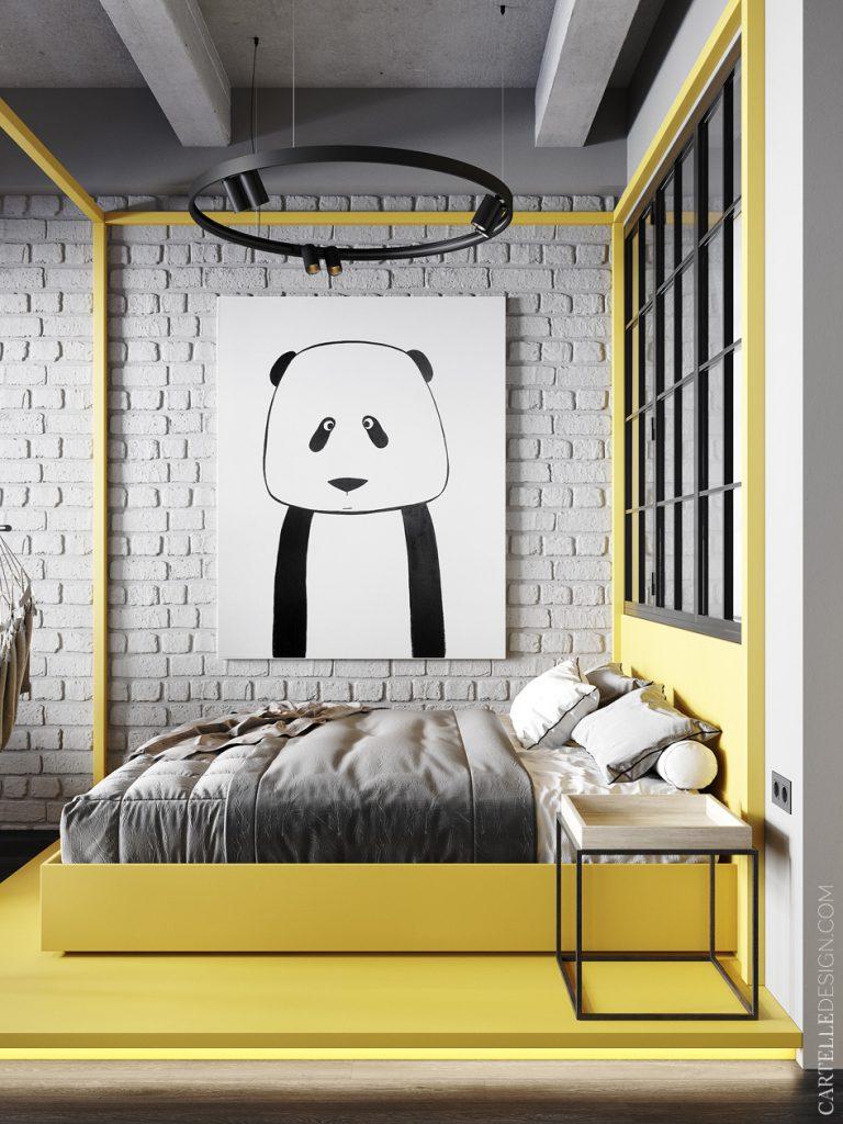 studio étudiant chambre loft béton jaune panda affiche - blog déco - clem around the corner