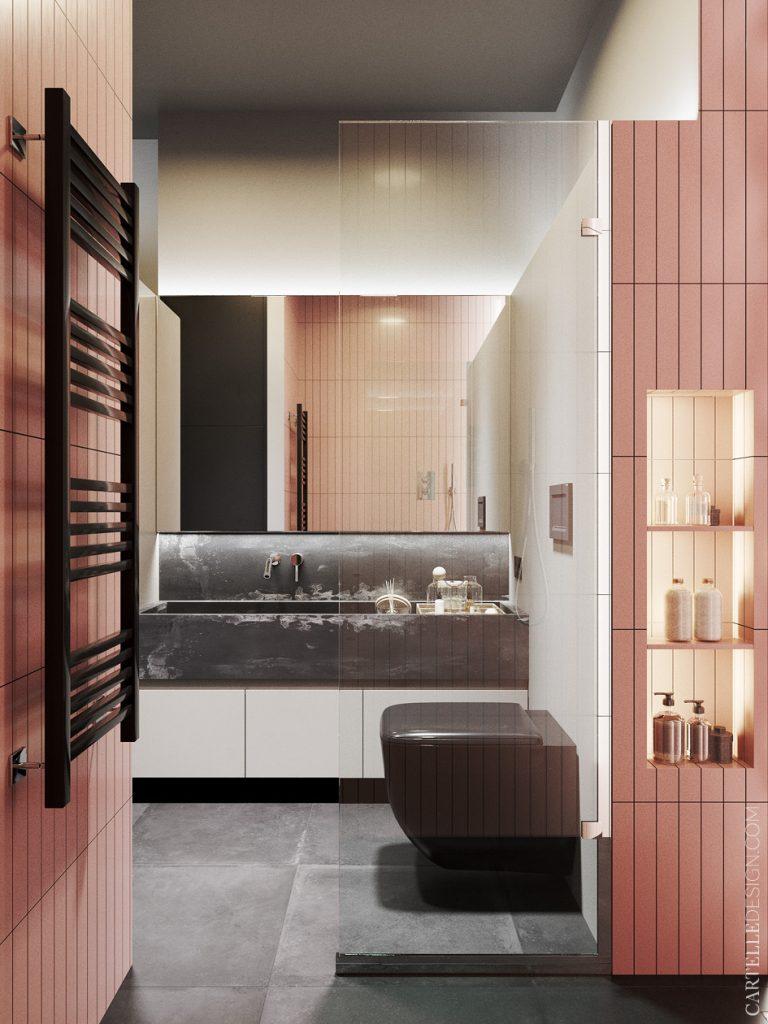 studio étudiant salle de bain rose noire marbre - clem around the corner