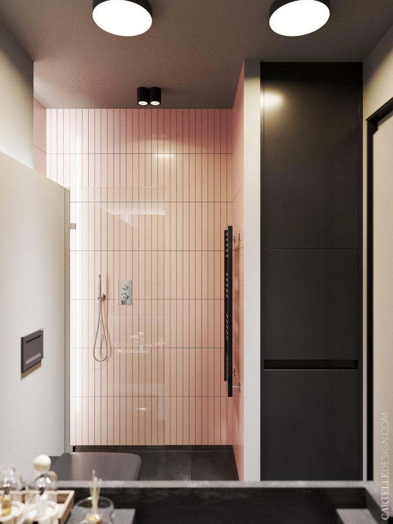 studio étudiant salle de bain rose douche italienne - blog déco - clem around the corner