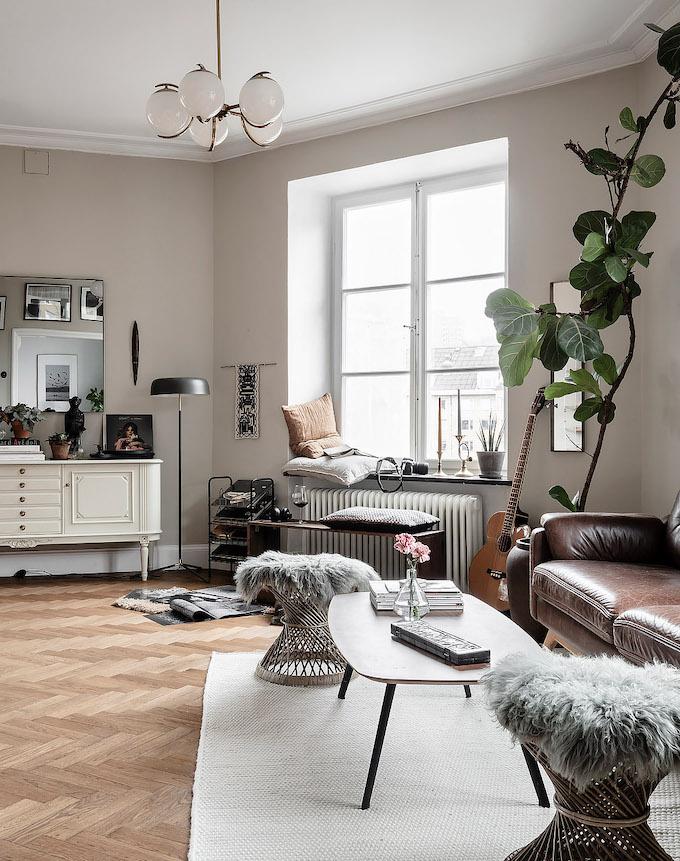 ambiance rustique salon lumineux meuble blanc fourrure - blog déco - clem round the corner copie