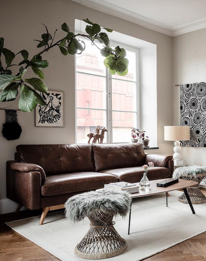 ambiance rustique salon canapé cuir rustique - blog déco - clem around the corner