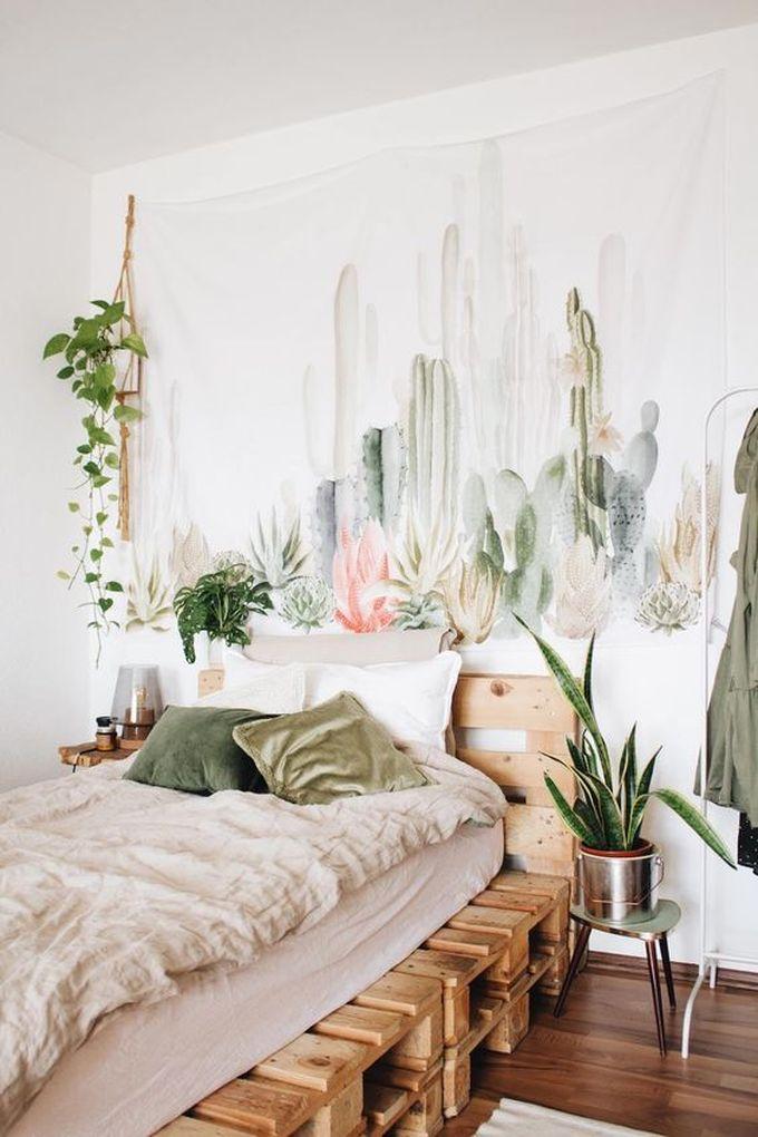 déco chambre ado cocooning cactus bohème lit en palettes blog déco clem around the corner