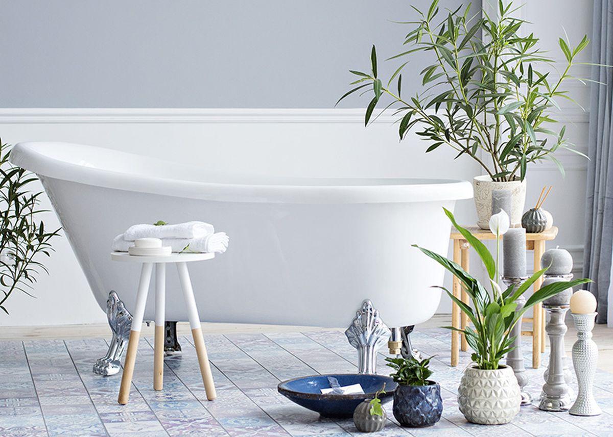 salle de bain ambiance zen décoration sol bleu blog déco clem around the corner