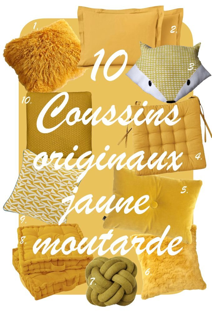 déco couleur jaune moutarde blog shopping liste coussin déco clem around the corner