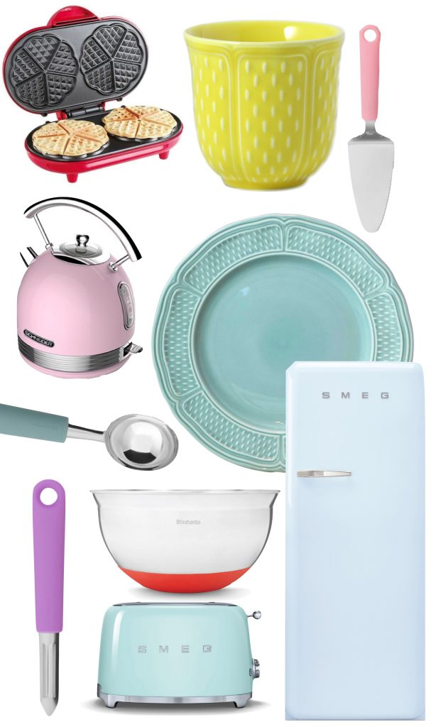 cuisine multicolore ustensile ludique rose vert bleu - blog déco - clem around the corner