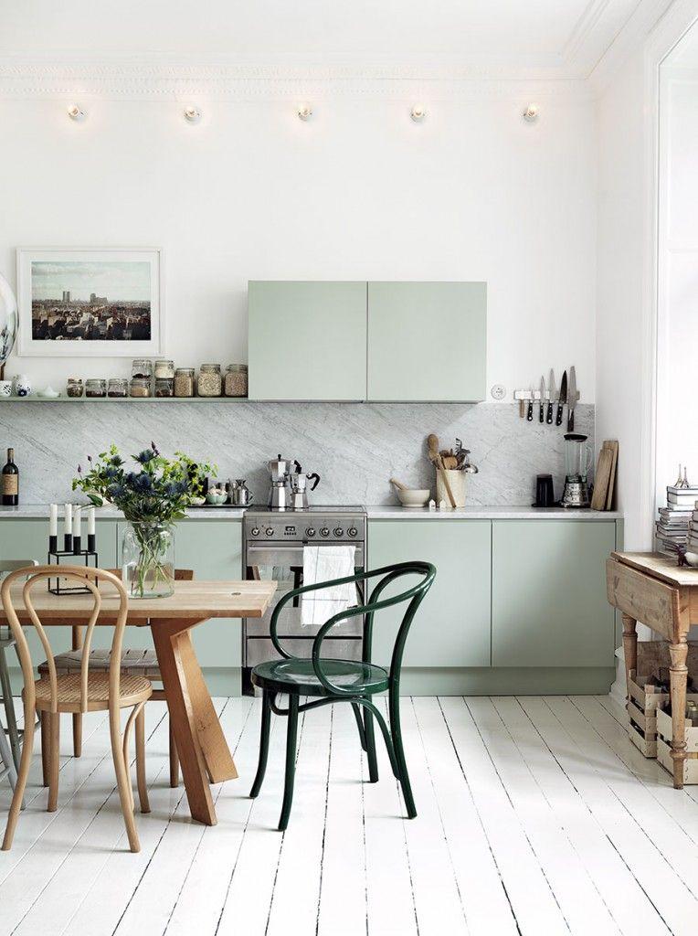 décoration vert céladon cuisine vert menthe marbre blanc bois - blog déco - clem around the corner
