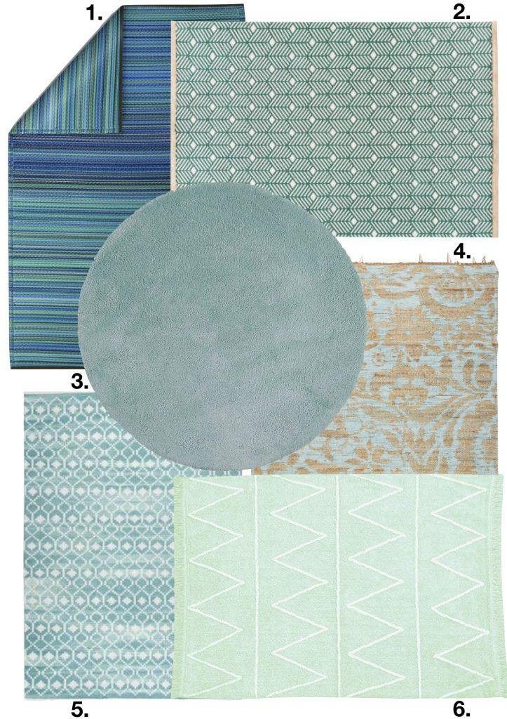décoration vert céladon tapis salon rond carré - blog déco - clem around the corner