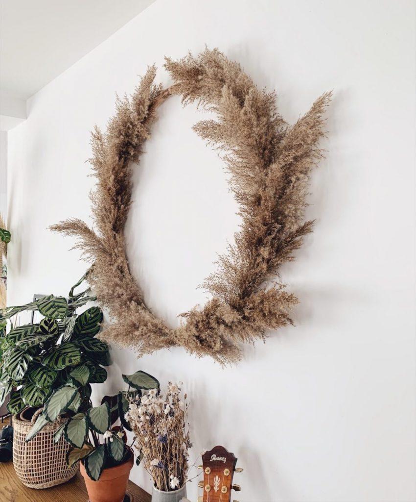 l'herbe de la pampa couronne décoration diy blog déco clem around the corner