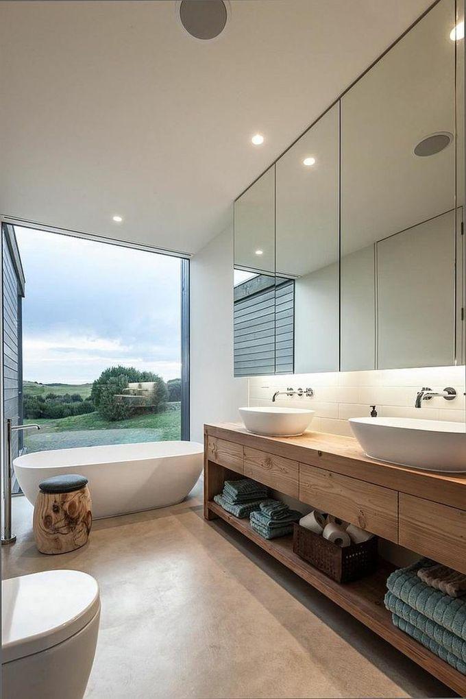 salle de bain ambiance zen meuble salle de bain bois serviettes vue rangement baignoire vasque blog déco clem around the corner