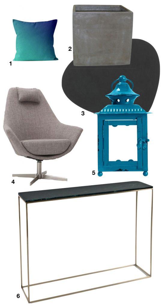 villa tropicale salon nuance gris bleu turquoise - blog déco - clem around the corner