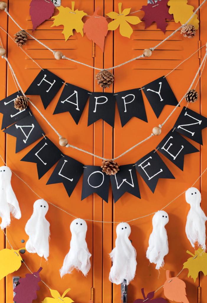 déco diy halloween facile guirlande fantôme feuilles automne - blog déco - clem around the corner