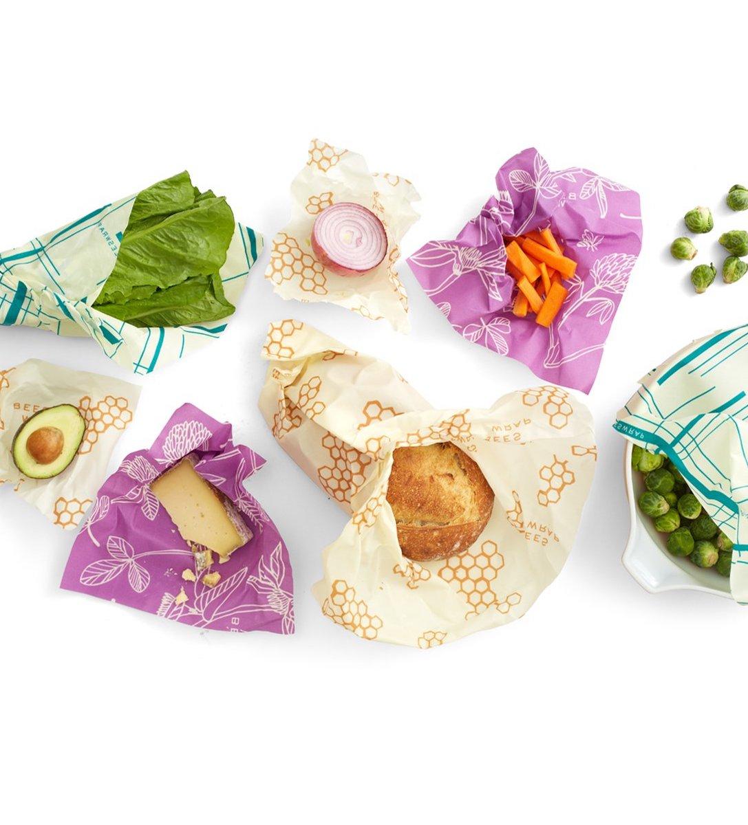 zéro déchet bee wrap violet blanc rayure bleu aliment - blog déco - clem around the corner