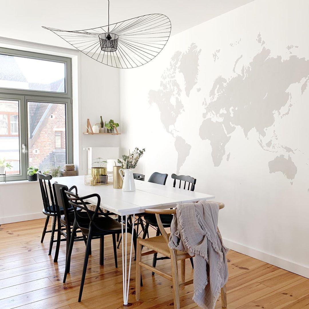 pierre papier ciseaux carte du monde décoration salon salle à manger - blog déco - clem around the corner