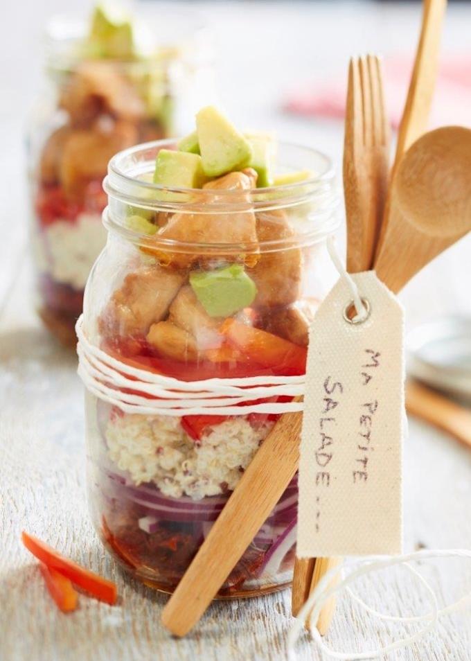 zéro déchet bocaux verre pique nique salade estivale cuillère bois ficelle blanche - blog déco - clem around the corner