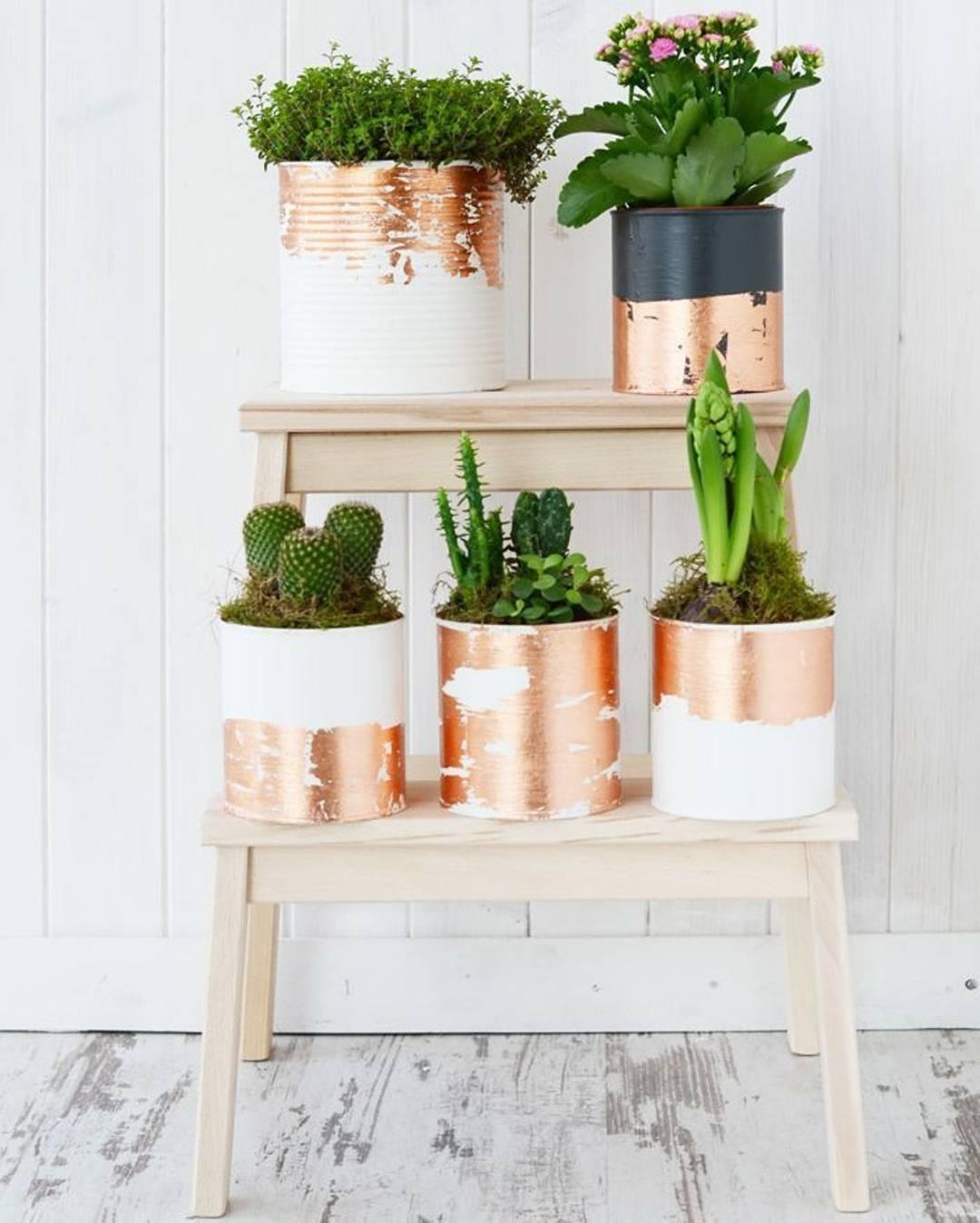 zéro déchet cache pot boite conserve recyclé blanc cuivre cactus tabouret bois - blog déco - clem around the corner