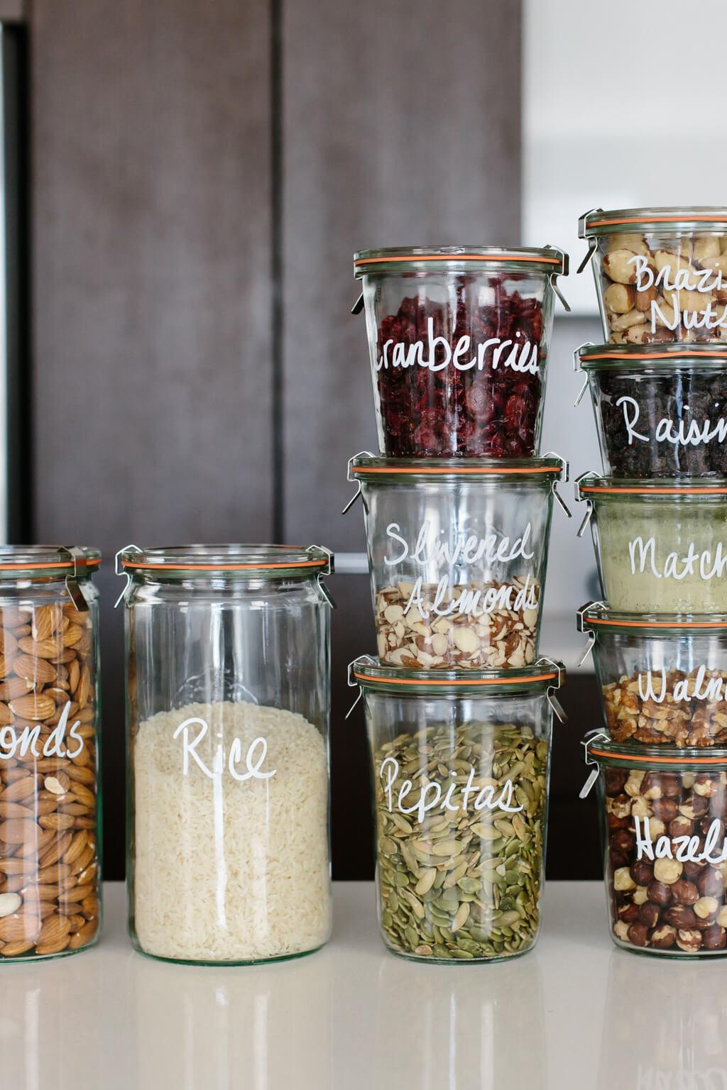 zéro déchet bocaux verre hermétique aliment sec graine chia riz personnalisation - blog déco - clem around the corner