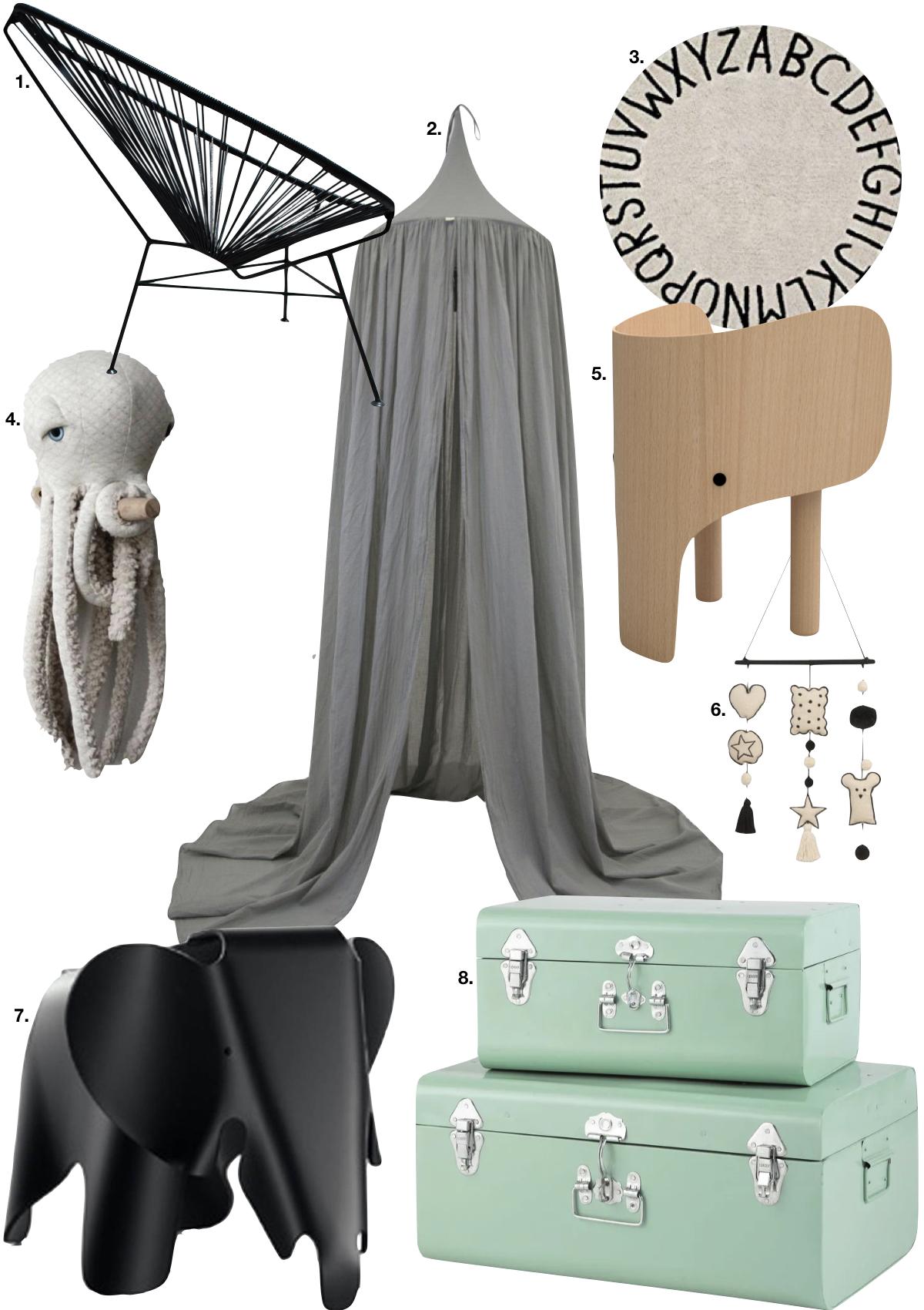 couleur pastel chambre enfant éléphant bois valise vert menthe pieuvre peluche - blog déco scandinave bucolique