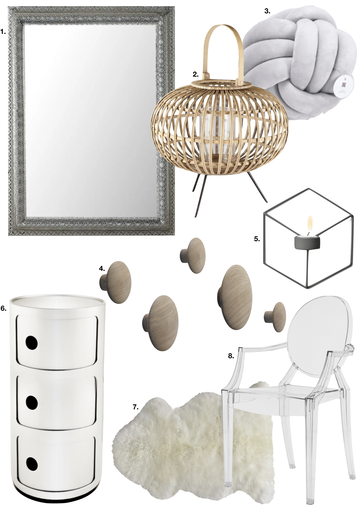 couleur pastel chambre parent tapis fourrure coussin laine gris chaise miroir bougeoir - blog déco - clem around the corner
