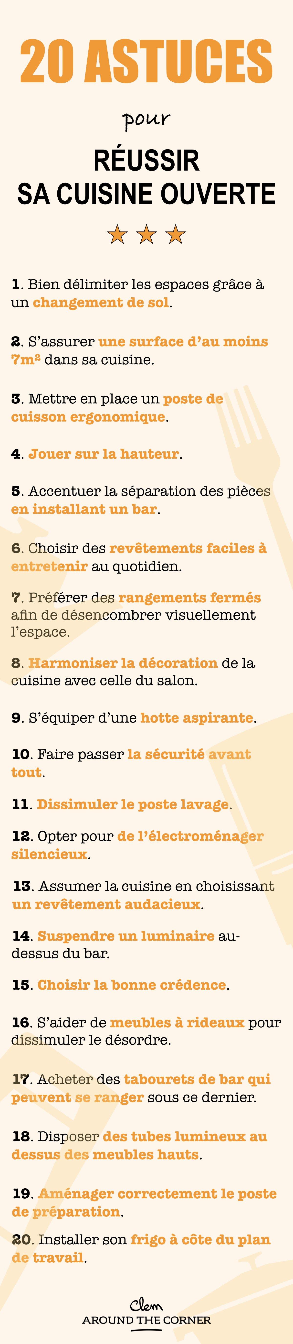 cuisine ouverte sur salon infographie récap 20 astuces - blog déco - clem around the corner