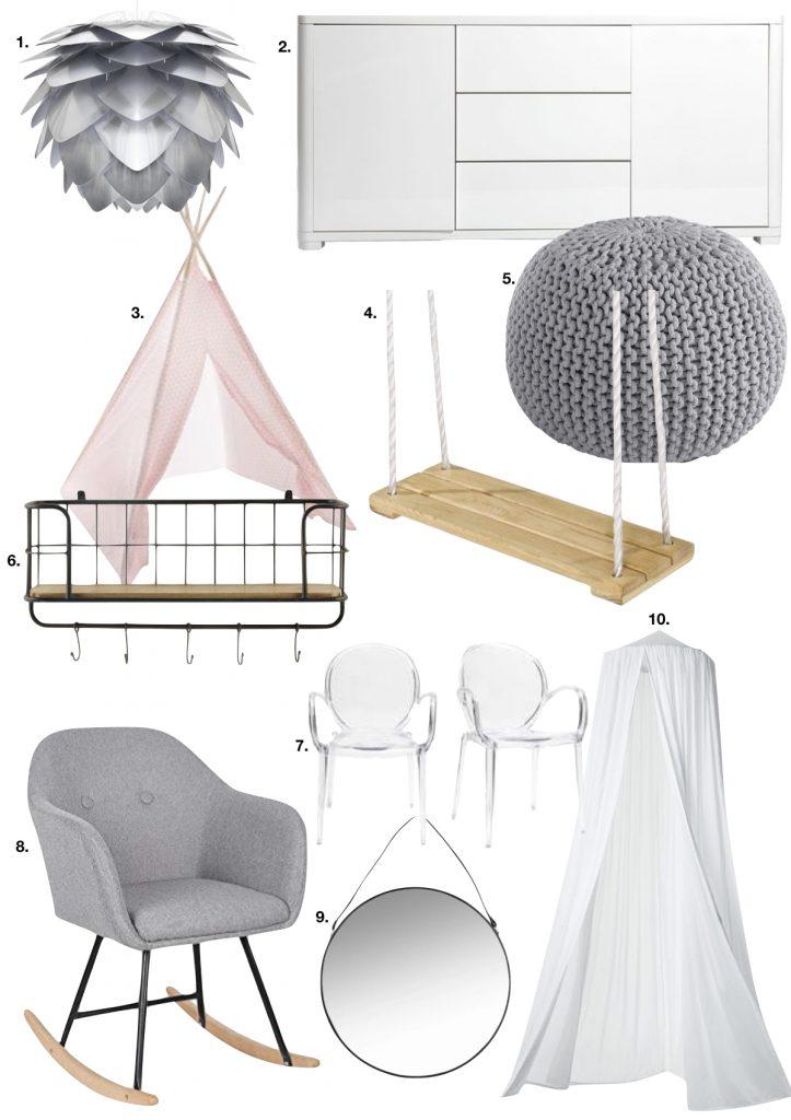couleur pastel fauteuil scandinave gris miroir métal rond suspension lampe pétale - blog déco - clem around the corner