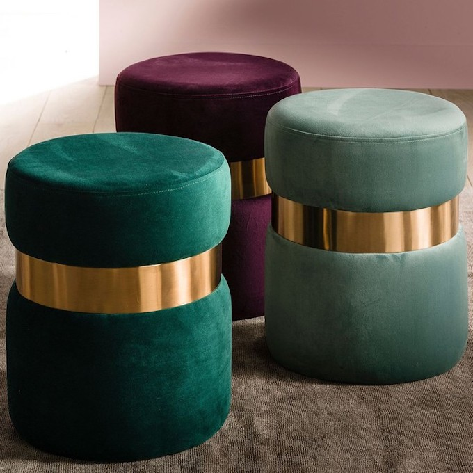 comment nettoyer du velours pouf laiton original vert émeraude fushia pourpre - blog déco - clem around the corner