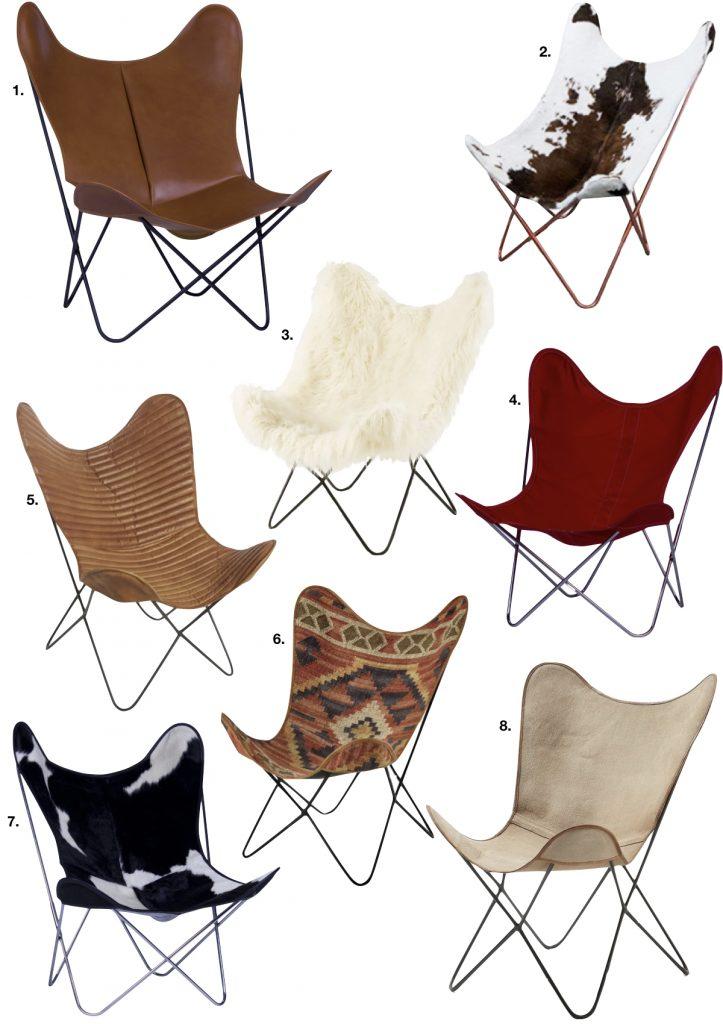 fauteuil butterfly tissu cuir peau de vache ethnique rouge marron blanc noir - blog déco - clem around the corner
